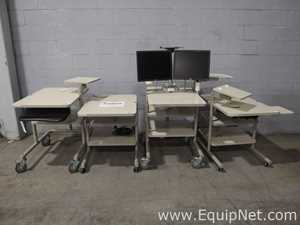 Lot of 4 Mobile Workstations With Monitors