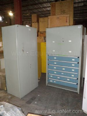 Lot of 2 Gray Steel Cabinets