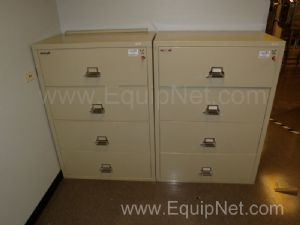 Lot of (2) FireKing Fireproof 4 Drawer Lateral Filing Cabinets