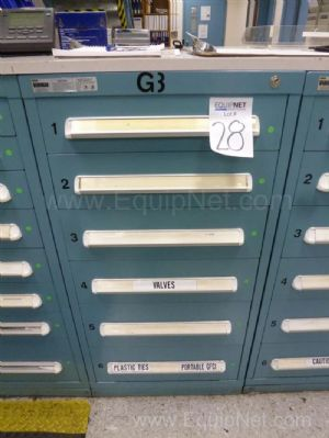 Vidmar Six Drawer Cabinet With Valves, Plastic Ties, Portable GFCI And Miscellaneous