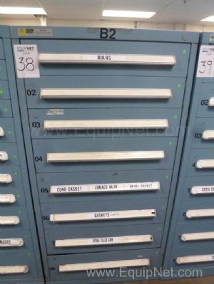 Vidmar Eight Drawer Cabinet With Bulbs, Gaskets, Valves, Miscellaneous MRO