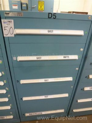 Vidmar Five Drawer Cabinet With Gast, Watts And Miscellaneous Spare MRO
