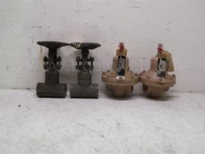 Lot of 4 Henry Vogt various model .75 inch Gate Valve and Cashco .375 inch air press recording valve