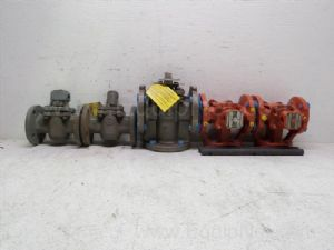 Lot of 5 various manufacturers one and one-half  to 2 inch Flanged Plug Valves