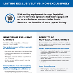 With selling equipment, we offer sellers the option to list their assets on an exclusive or nonexclusive basis. Here are the benefits of each type of listing.