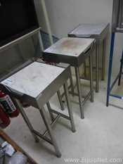 Lot of 3 Stainless Steel Tables with Marble Cover for weighing purpose
