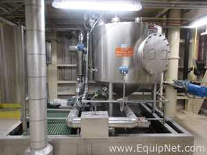 Approximately 1000 Gallon Stainless Steel Agitated Vessel On Skid With Pump And Heat Exchanger